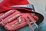 20 September 2012: Washington Nationals pitcher Drew Storen has his glove embroidered with his Twitter handle. Photo taken prior to a game against the Los Angeles Dodgers at Nationals Park in Washington, DC. The Nationals defeated the Dodgers 4-1, clinching a playoff birth: the first time for a Washington franchise since 1933. Mandatory Credit: Ed Wolfstein Photo
