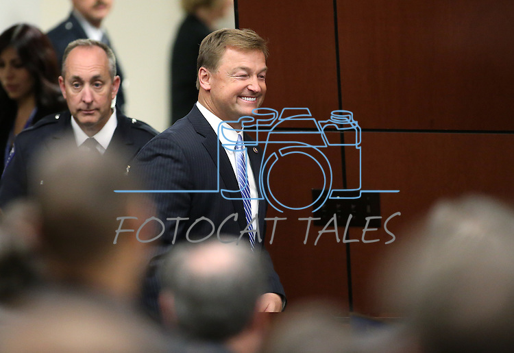 U.S. Sen. Dean Heller enters the Assembly chambers before his address to the Nevada Legislature, in Carson City, Nev., on Monday, April 6, 2015. <br /> Photo by Cathleen Allison