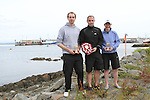 """1st Place Mark Watters, 2nd Place Oran Kane and 2nd Place Ladies Alison Cardwell at the Clogherhead """"Round the Head Swim""""....(Photo credit should read Jenny Matthews/NEWSFILE)..."""