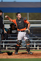 Baltimore Orioles Trevor Craport (49) throws the ball back to the pitcher during an Instructional League game against the New York Yankees on September 23, 2017 at the Yankees Minor League Complex in Tampa, Florida.  (Mike Janes/Four Seam Images)