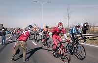 Marco Mathis (DEU/Katusha-Alpecin) in the feedzone<br /> <br /> Omloop Het Nieuwsblad 2018<br /> Gent &rsaquo; Meerbeke: 196km (BELGIUM)