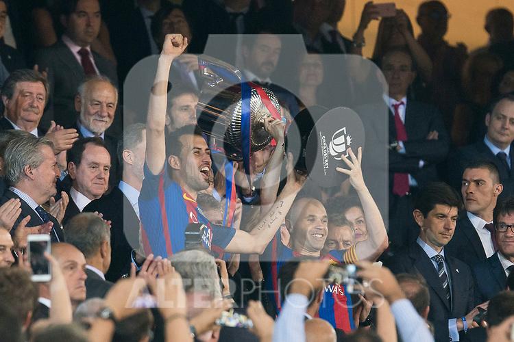 FC Barcelona's midfielder Sergio Busquets during Copa del Rey (King's Cup) Final between Deportivo Alaves and FC Barcelona at Vicente Calderon Stadium in Madrid, May 27, 2017. Spain.<br /> (ALTERPHOTOS/BorjaB.Hojas)