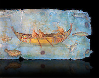Roman Fresco with a boat decorated for a festival and marine life from the second quarter of the first century AD. (mosaico fauna marina da porto fluviale di san paolo), museo nazionale romano ( National Roman Museum), Rome, Italy. inv. 121462 .    Against a black background.<br /> The frescoes depict boats decorated as boats which went along the Tiber on festival days; their shape appears to be the caudicariae boats, used to transport merchandise. In the fresco fragment exhibited here (Ambiente E) the boat on the left depicts probably the group of 'side Serapide and Demetra on the stern, whereas the one on the right presents a crowned character on the bow and, on the stern, a feminine figure fluctuating in the air. Between the two boats, a young boy (a cupid or Palaimon-Portunus) rides a dolphin. All around are depicted several fish incredibly casting their shadows on the sea. The ichthyic fauna, lifeless as in still life decoration, is detailed as in a scientific catalogue. For the most part the represented species live next to the coast or were bred by the Romans in the piscinae salsac or in ponds. It is possible to recognize the rock mullet (mullus sunnuletus) and the mud one (mullus barbatu4 the scorpion fish (scorpoena) the dentex (dentex dentex), the aguglia (belone agus) the dolphin (delphinus delphis) and the golden mullet (lire curate).
