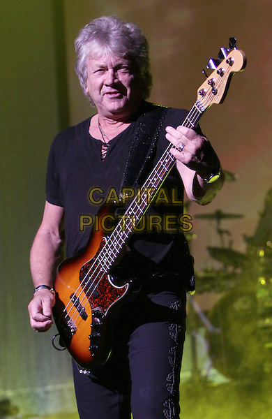 THE MOODY BLUES - John Lodge.performed at The Historic Fox Theater as part of their North American 2010 Tour, Atlanta, GA, USA, March 19th, 2010..music concert gig band live on stage half length guitar black t-shirt top playing .CAP/ADM/DH.©Dan Harr/Admedia/Capital Pictures
