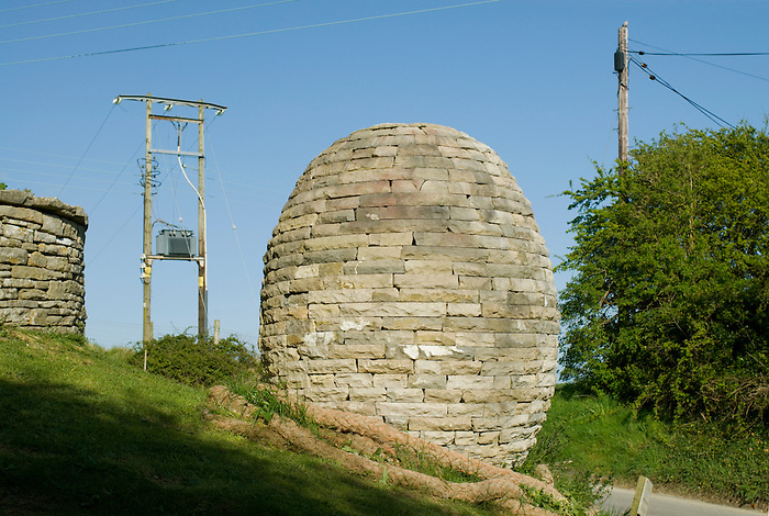 'The Egg' -an egg shaped sculpture serves as an unusual advertisement for a dry stone wall company in Worth Matravers,Dorset.England 2008.