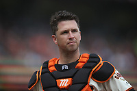 SAN FRANCISCO, CA - APRIL 5:  Buster Posey #28 of the San Francisco Giants stands at home plate against the Tampa Bay Rays during the game at Oracle Park on Friday, April 5, 2019 in San Francisco, California. (Photo by Brad Mangin)