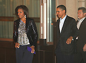 United States President Barack Obama and First Lady Michelle Obama leave Tosca Restaurant on Saturday, May 7, 2011. .Credit: Dennis Brack / Pool via CNP