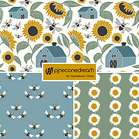 """At Sunflower Farm"" is a hand illustrated scalable vector surface pattern collection - inspired by the serene country scene of sunflowers farms, barns and bees!<br />