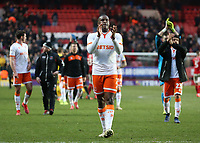 Blackpool's Donervon Daniels applauds the fans at the final whistle <br /> <br /> Photographer David Shipman/CameraSport<br /> <br /> The EFL Sky Bet League One - Charlton Athletic v Blackpool - Saturday 16th February 2019 - The Valley - London<br /> <br /> World Copyright © 2019 CameraSport. All rights reserved. 43 Linden Ave. Countesthorpe. Leicester. England. LE8 5PG - Tel: +44 (0) 116 277 4147 - admin@camerasport.com - www.camerasport.com