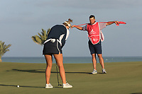Sam Walker (ENG) caddying for Amy Boulden (WAL) during the second round of the Fatima Bint Mubarak Ladies Open played at Saadiyat Beach Golf Club, Abu Dhabi, UAE. 11/01/2019<br /> Picture: Golffile | Phil Inglis<br /> <br /> All photo usage must carry mandatory copyright credit (&copy; Golffile | Phil Inglis)