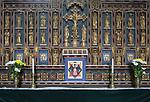 Gilt reredos of saints inside church of Saint Mary, Swilland, Suffolk, England, UK
