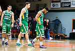 S&ouml;dert&auml;lje 2015-02-07 Basket Basketligan S&ouml;dert&auml;lje Kings - Bor&aring;s Basket :  <br /> S&ouml;dert&auml;lje Kings John Roberson deppar med Aaron Andersson och Mike Joseph under matchen mellan S&ouml;dert&auml;lje Kings och Bor&aring;s Basket <br /> (Foto: Kenta J&ouml;nsson) Nyckelord:  S&ouml;dert&auml;lje Kings SBBK T&auml;ljehallen Bor&aring;s Basket depp besviken besvikelse sorg ledsen deppig nedst&auml;md uppgiven sad disappointment disappointed dejected