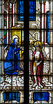 Sixteenth century stained glass windows inside church of Saint Mary, Fairford, Gloucestershire, England, UK - window 7 detail