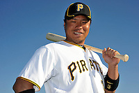 Feb 28, 2010; Bradenton, FL, USA; Pittsburgh Pirates  infielder Aki Iwamura (3) during  photoday at Pirate City. Mandatory Credit: Tomasso De Rosa/ Four Seam Images