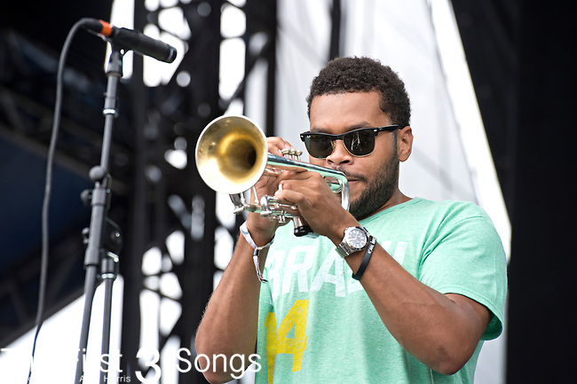 Julian Gosin of The Soul Rebels performs during the Forecastle Music Festival at Waterfront Park in Louisville, Kentucky.