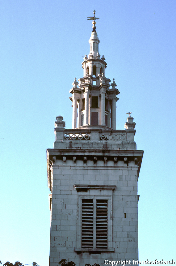 Sir Christopher Wren: St. Michael Paternoster Royal. Detail of steeple. Photo '05.
