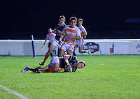 Oli Grove of London Scottish Football Club scores a try during the Greene King IPA Championship match between London Scottish Football Club and Ealing Trailfinders at Richmond Athletic Ground, Richmond, United Kingdom on 26 December 2015. Photo by Alan  Stanford / PRiME Media Images