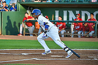 Michael Medina (25) of the Ogden Raptors at bat against the Orem Owlz in Pioneer League action at Lindquist Field on August 28, 2015 in Ogden, Utah. Ogden defeated Orem 14-6. (Stephen Smith/Four Seam Images)