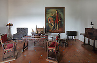 Diego Colon's office, with a portrait of Diego Colon and Christopher Colombus, oil painting, 1957, by Rafael Pellicer, 1906-63, in the Alcazar de Colon, or Columbus Alcazar, built 1510-12 in Gothic Mudejar style, under Diego Colon, son of Christopher Columbus, who was 4th Governor of the Indies, in the Colonial Zone of Santo Domingo, capital of the Dominican Republic, in the Caribbean. The building houses the Museo Alcazar de Diego Colon, displaying Gothic and Renaissance European art. Santo Domingo's Colonial Zone is listed as a UNESCO World Heritage Site. Picture by Manuel Cohen