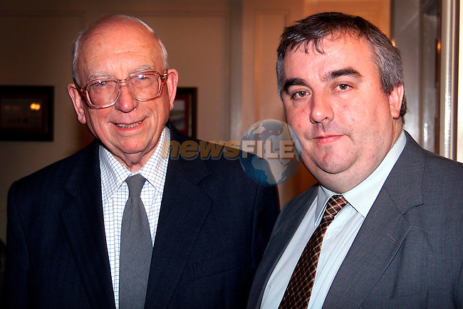 Sean Collins and Dr. T.K. Whitaker at the Millenium Lecture in the Westcourt Hotel..Picture: Paul Mohan/Newsfile