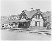 Northwest end view of passenger service end of RGS Dolores depot.<br /> RGS  Dolores, CO  Taken by Chione, A. G. - 5/1951