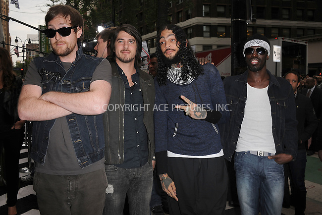 WWW.ACEPIXS.COM . . . . . .April 30, 2012...New York City....Gym Class Heroes arriving to attend the E! 2012 Upfront at Gotham Hall on April 30, 2012  in New York City ....Please byline: KRISTIN CALLAHAN - ACEPIXS.COM.. . . . . . ..Ace Pictures, Inc: ..tel: (212) 243 8787 or (646) 769 0430..e-mail: info@acepixs.com..web: http://www.acepixs.com .