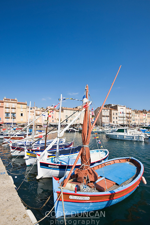 Small sailboats in harbour, Saint Tropez, France