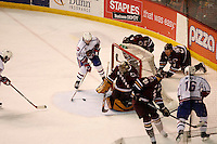 Jun 7, 2007; Hamilton, ON, CAN; Hamilton Bulldogs center (26) Maxim Lapierre scores on Hershey Bears goalie (35) Frederic Cassivi during the second period in game five of the Calder Cup finals at Copps Coliseum in Hamilton, ON. Mandatory Credit: Ron Scheffler