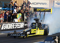 Jul. 18, 2014; Morrison, CO, USA; NHRA top fuel driver Richie Crampton during qualifying for the Mile High Nationals at Bandimere Speedway. Mandatory Credit: Mark J. Rebilas-