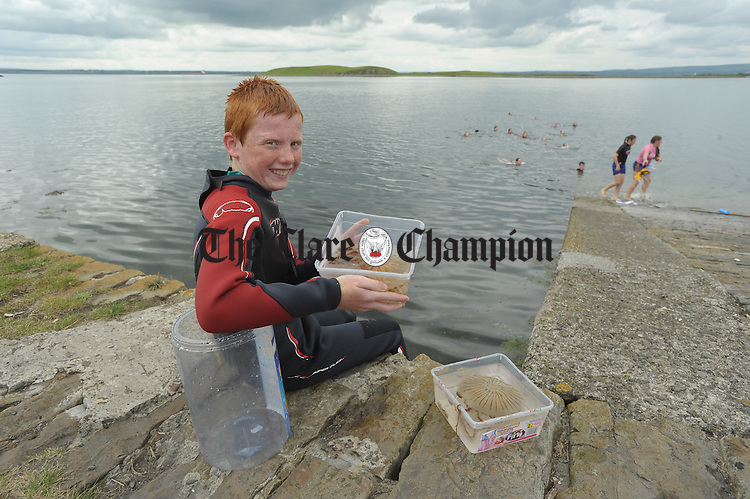 Sean Mc Keown examines a sample stinging jellyfish as part of a lifesaving and Water Safety classes at Cappa, Kilrush, run by the Clare Water Safety Association. Photograph by John Kelly.