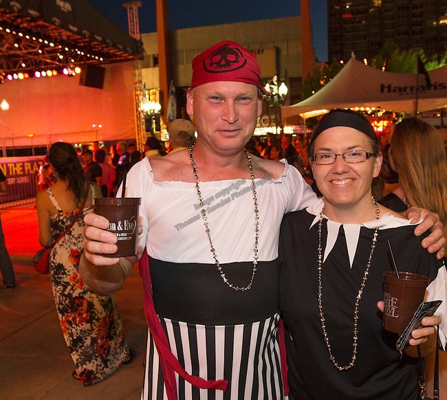 Gary and Nicole during the Pirate Crawl held in downtown Reno on Saturday night, August 13, 2016.
