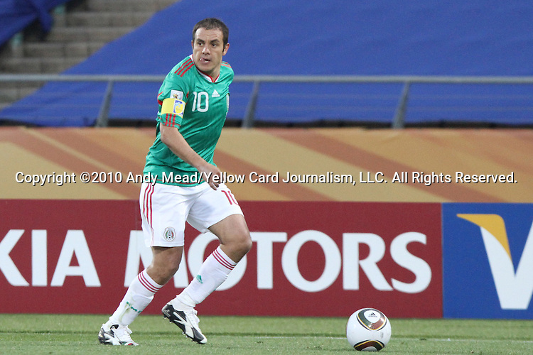 22 JUN 2010: Cuauhtemoc Blanco (MEX). The Uruguay National Team defeated the Mexico National Team 1-0 at Royal Bafokeng Stadium in Rustenburg, South Africa in a 2010 FIFA World Cup Group A match.