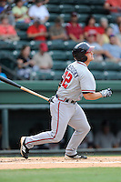 Designated hitter Casey Kalenkosky (32) of the Rome Braves bats in a game against the Greenville Drive on Tuesday, August 20, 2013, at Fluor Field at the West End in Greenville, South Carolina. Rome won, 4-2. (Tom Priddy/Four Seam Images)
