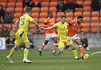 Blackpool's Marc Bola in action with Bristol Rovers' Ollie Clarke<br /> <br /> Photographer Mick Walker/CameraSport<br /> <br /> The EFL Sky Bet League One - Blackpool v Bristol Rovers - Saturday 3rd November 2018 - Bloomfield Road - Blackpool<br /> <br /> World Copyright © 2018 CameraSport. All rights reserved. 43 Linden Ave. Countesthorpe. Leicester. England. LE8 5PG - Tel: +44 (0) 116 277 4147 - admin@camerasport.com - www.camerasport.com