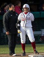STANFORD, CA - February 25, 2011:  Assistant Coach Claire Sua-Amundson and Teagan Gerhart during Stanford's 12-0 victory over North Dakota State at Stanford, California on February 25, 2011.