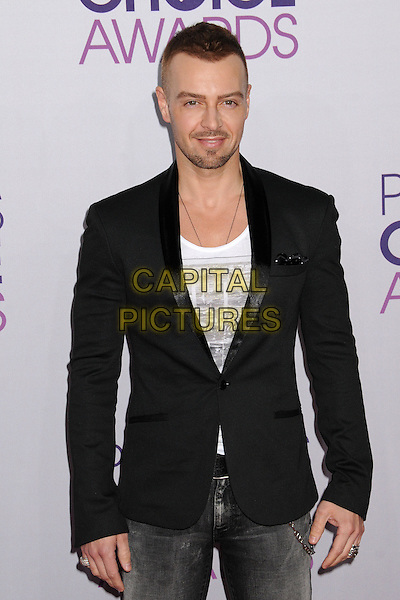 Joey Lawrence .People's Choice Awards 2013 - Arrivals held at Nokia Theatre L.A. Live, Los Angeles, California, USA..January 9th, 2013.half length black suit jacket white top stubble facial hair  .CAP/ADM/BP.©Byron Purvis/AdMedia/Capital Pictures.