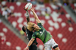 Joe Ravouvou of New Zealand (left) and Werner Kok of South Africa (right) compete for the ball during the match South Africa vs New Zealand, Day 2 of the HSBC Singapore Rugby Sevens as part of the World Rugby HSBC World Rugby Sevens Series 2016-17 at the National Stadium on 16 April 2017 in Singapore. Photo by Victor Fraile / Power Sport Images