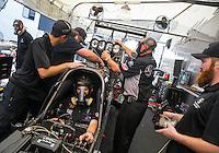 May 17, 2015; Commerce, GA, USA; Crew members with NHRA top fuel driver Larry Dixon during the Southern Nationals at Atlanta Dragway. Mandatory Credit: Mark J. Rebilas-USA TODAY Sports