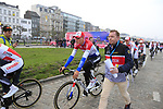 Dutch National Champion Mathieu Van Der Poel (NED) Corendon-Circus heads to the team presentation in Antwerp before the start of the 2019 Ronde Van Vlaanderen 270km from Antwerp to Oudenaarde, Belgium. 7th April 2019.<br /> Picture: Eoin Clarke | Cyclefile<br /> <br /> All photos usage must carry mandatory copyright credit (&copy; Cyclefile | Eoin Clarke)