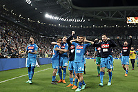 Calcio, Serie A: Juventus - Napoli, Torino, Allianz Stadium, 22 aprile, 2018.<br /> Napoli's players celebrate after winning 1-0  the Italian Serie A football match between Juventus and Napoli at Torino's Allianz stadium, April 22, 2018.<br /> UPDATE IMAGES PRESS/Isabella Bonotto