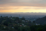 View of Los Angeles from the Holywood Hills at sunset.