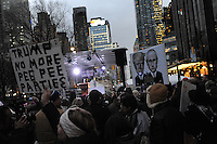 www.acepixs.com<br /> January 19, 2017  New York City<br /> <br /> Protesters during the We Stand United Rally outside Trump International Hotel &amp; Tower on January 19, 2017 in New York City.<br /> <br /> Credit: Kristin Callahan/ACE Pictures<br /> <br /> Tel: 646 769 0430<br /> Email: info@acepixs.com