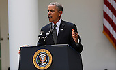 United States President Barack Obama delivers a statement on Afghanistan in the Rose Garden of the White House, Washington DC, Tuesday May 27, 2014. He announced a plan to have about 10000 US troops staying in Afghanistan. <br /> Credit: Aude Guerrucci / Pool via CNP