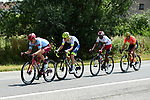 The early breakaway featuring Xandro Meurisse (BEL) Wanty-Gobert, Greg Van Avermaet (BEL) CCC Team, Natnael Berhane (ERI) Cofidis and Mads Würtz Schmidt (DEN) Team Katusha Alpecin form just after the start of Stage 1 of the 2019 Tour de France running 194.5km from Brussels to Brussels, Belgium. 6th July 2019.<br /> Picture: ASO/Alex Broadway | Cyclefile<br /> All photos usage must carry mandatory copyright credit (© Cyclefile | ASO/Alex Broadway)