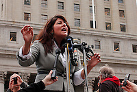 Political consultant Naomi Wolf speaks to reporters during a news conference to announce Lawsuit Against the Indefinite Detention Provisions of NDAA in New York, United States. 29/03/2012. Photo by Kena Betancur / VIEWpress.