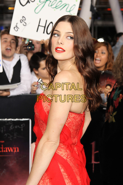"ASHLEY GREENE.World Premiere of  ""The Twilight Saga: Breaking Dawn - Part 1,"" at the Nokia Theatre at LA Live. Los Angeles, CA USA..November 14th, 2011.half length dress red strapless lace lipstick sheer stripe side.CAP/CEL .©CelPh/Capital Pictures"
