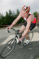 09 JUN 2007 - TREDEGAR, UK - Ross Payne recovers after clipping  the kerb at the National Elite Triathlon Championships and Corus Elite Triathlon Series Rd 2. (PHOTO (C) NIGEL FARROW)