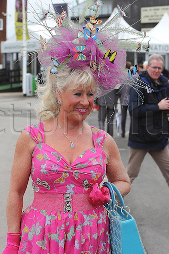 08.04.2016. Aintree, Liverpool, England. Crabbies Grand National Festival Day 2. A lady racegoer arrives at the track in finery.