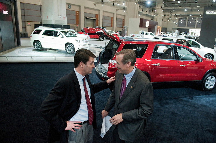 UNITED STATES - JANUARY 26:  Sen. Jeff Merkley, D-Ore., right, talks with John O'Donnell, of the Washington Area New Automobile Dealers Association, during Public Policy Day which precedes the start of its 69th Annual Washington Auto Show at the Walter E. Washington Convention Center. (Photo By Tom Williams / CQ Roll Call)