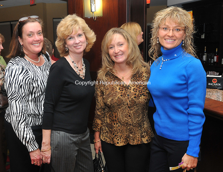 WATERBURY, CT- 13 November 2009 - 111309IP08- (l to r) Mary Lynn Pelletier of Bristol, Ann Robinson of Bristol, Sandy Bouvier of Waterbury and Maribeth DeForge of Bristol, attended the 2nd annual Ladies Night Out to benefit Easter Seals at the Courtyard by Marriott in Waterbury on Friday.<br /> Irena Pastorello Republican-American